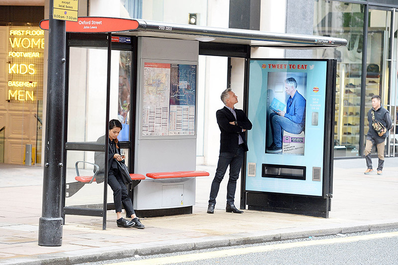 walkers crisps vending machine bus shelter